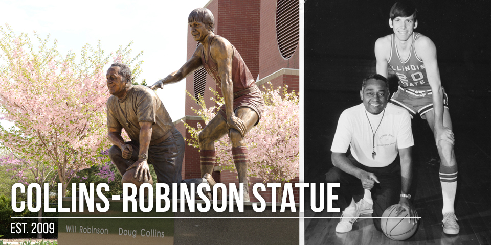 The Collins-Robinson statue on campus and image it was based on